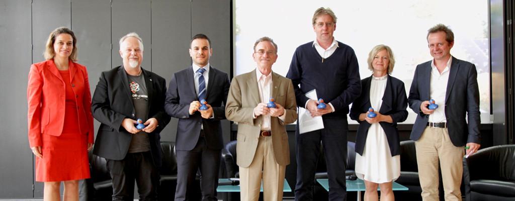 Prof. Dr.-Ing. Katja Windt, Dean Prof. Arvid Kappas, Hashem Al-Ghaili, Prof. Randy Schekman, Prof. Gerardus Meijer, Prof. Andrea Koschinsky, Dr. Bernd Pulverer